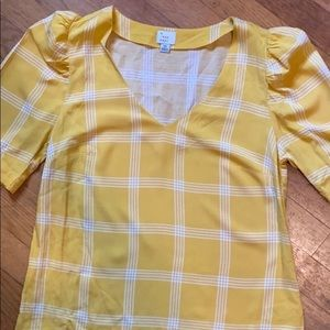 a new day V-Neck Yellow Blouse Size XS